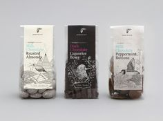 Packaging created by Melbourne-based design studio Round for Koko Black's Sandpiper range of handmade chocolates, chocolate covered nuts and liquorice.