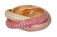 Cartier Trinity ring in pink gold, pink sapphire & diamond paved. PHOTO: Vincent Wulveryck © Cartier