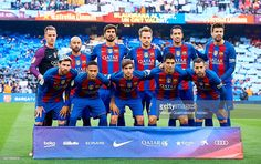 FC Barcelona squad pose for a photograph prior to the La Liga match between FC Barcelona and Real Madrid CF at Camp Nou Stadium on December 3, 2016 in Barcelona, Spain.