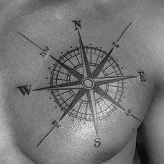 North East South And West Nautical Star Mens Chest Tattoo