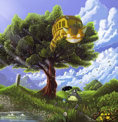 Totoro and Cat Bus by Syntetyc.deviantart.com