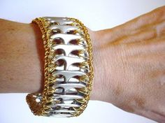 Gold Pull Tab Cuff Bracelet ♥ by PopTopLady on Etsy Soda Tab Crafts, Can Tab Crafts, Aluminum Can Crafts, Soda Tab Bracelet, Pop Top Crafts, Bracelet Making, Jewelry Making, Pop Can Tabs, Beaded Jewelry