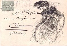 1904 decorated envelope... very Toulouse-Lautrec-esque.