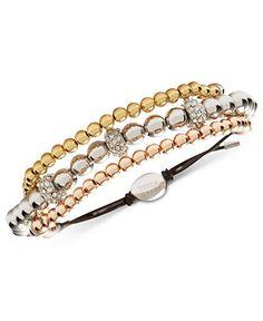 Fossil Bracelet, Tri-Tone Glitz Beaded Three-Row Bracelet - FFF, we need this!!!!