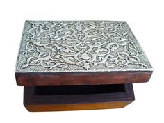 Embossed aluminum mounted to wood box