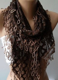 UNIQUE Brown Lace Scarf With Lace Edge