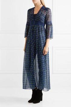 Anna Sui - Lace-trimmed Floral-print Silk-blend Crepon Kimono Jacket - Blue - US10
