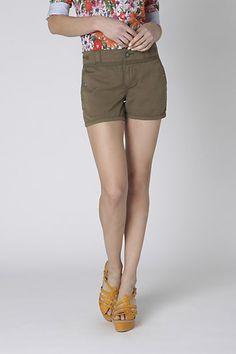 Season Staple Shorts, in moss; Anthropologie