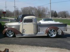 38 chevy truck. My great grandfather bought my 38 brand new. I bought it from my grandpa when I was 13. Been a long wait but I am going to get busy restoring it. I like the chop and stance on this one!