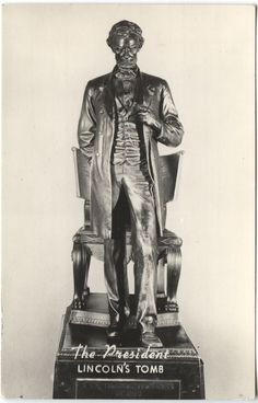 Statue of Lincoln from his tomb in Springfield, Illinois Abraham Lincoln Family, Lincoln Financial, Springfield Illinois, Statues, Presidents, Batman, Celebrity, America, Superhero