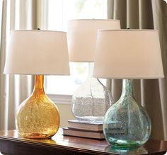 Eva Colored Glass Table Lamps Bottles/random glass/shade/lamp kit = PB table lamp