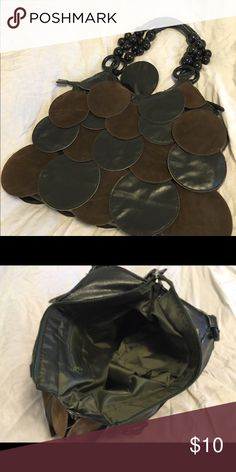Large faux suede handbag Large Beaded handle Hobo bag with large suede & leather pailettes . Olive green color. Cute, swingy style. Interior stain free and clean with pockets. Great gently loved bag! Bags Hobos
