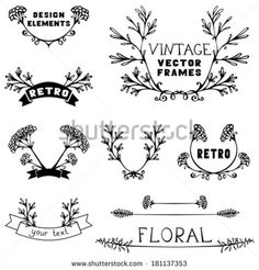 rustic design leaves flowers hand drawn - Google Search