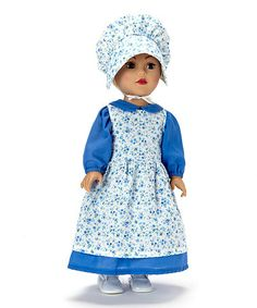 Take a look at this Blue Prairie Dress & Bonnet Doll Outfit Set by My 18 Inch Doll on #zulily today!