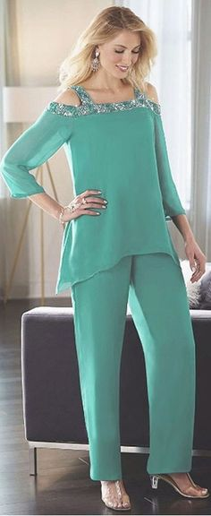 Charming Pant Suits Chiffon Square Neckline Full-length Mother Of The Bridal Dresses