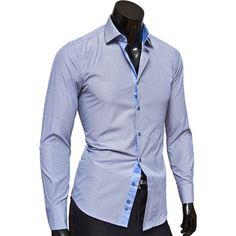 Купить Голубая приталенная рубашка в серую полоску недорого в Москве