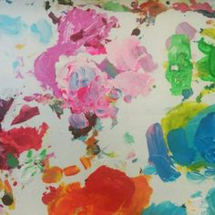 My painting palette is so colorful! Sometimes I like the mess that comes with painting.
