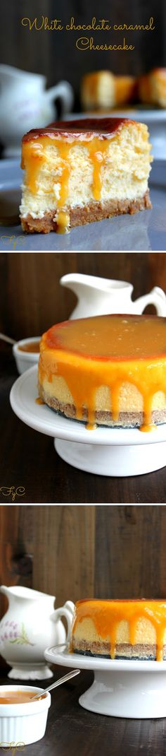 Tarta de queso, chocolate blanco y caramelo White Chocolate Cheesecake, Cheesecake Pie, Cheesecake Recipes, Pie Recipes, Sweet Recipes, Dessert Recipes, Cooking Recipes, No Bake Cake, Delicious Desserts