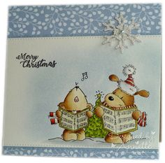 I've used another couple of stamps from the newly released 'Carol Singing' set from Lili of the Valley . It's similar to yesterday's card,. Winter Cards, Holiday Cards, Christmas Cards, Christmas Ornaments, Crafts To Do, Paper Crafts, Christmas Drawing, Digi Stamps, Greeting Cards Handmade