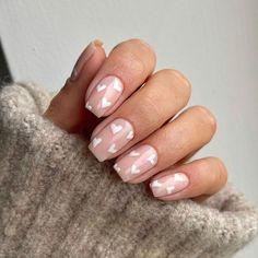 Gorgeous Nails, Pretty Nails, Pretty Short Nails, Heart Nail Designs, Nail Designs With Hearts, Cute Easy Nail Designs, Pink Nail Designs, Nails Design, Cute Gel Nails