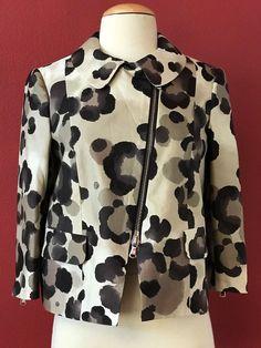 MOSCHINO Cheap And Chic Tan Brown Printed Silk Blend Crop Moto Jacket US 6 IT 40 #Moschino #MottoJacket