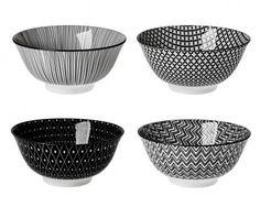 4er Set Schale China, groß, schwarz/weiß - Mit dieser Schale im 4er Set können Sie Ihren Gästen leckere Kleinigkeiten servieren.Material: PorzellanMarke: NANU-NANA