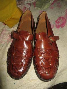 Vintage Mens US 9 D    David Taylor Brazilian Leather Woven