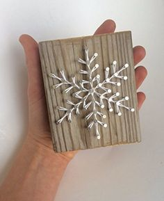 Sweet and small rustic snowflake string art wooden block - A unique gift for Birthdays, Christmas, Weddings, Anniversaries and House Warming gifts, Perfect for ski cabins.