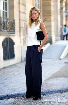 noSTYLEgic.blogspot.com. loving the navy wide leg pants trend