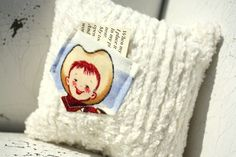 Tooth pillow for boy Retro cowboy cream chenille by thepaisleymoon, $8.00