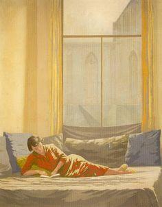 Edgar Fernhout (1912-1974), Interieur 1951 (reclining woman reading a book)