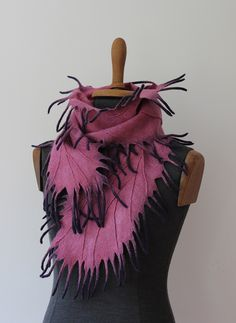 Felted violet and dark purple winter scarf