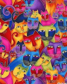 Pattern #cat Love the colors and art work