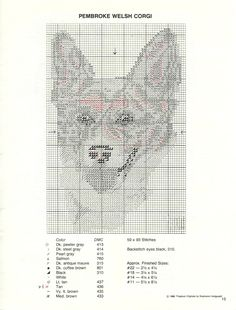 Corgi counted cross-stitch pattern