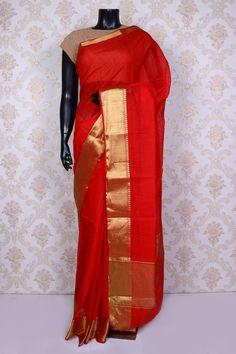 #Brightred tussar #silk  vibrant #saree with dull gold border -SR14732