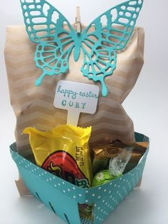 Stampin' Up! Berry Basket with bag of homemade cookies and Easter candy                   Beth McCullough    www.StampingMom.com #stampinup #EasterBerryBasket