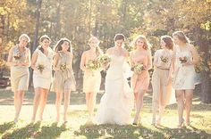I love the color of the bridesmaid dresses! Champagne and light peach! Gorgeous!!