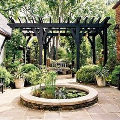 We have prepared for you 16 ideas for pergola design which are functional and practical and also suitable for every garden or terrace. A pergola in the Pergola Kits, Outdoor Rooms, Garden Design, Pergola Designs, Pond Design, Pergola Plans, Pergola Attached To House