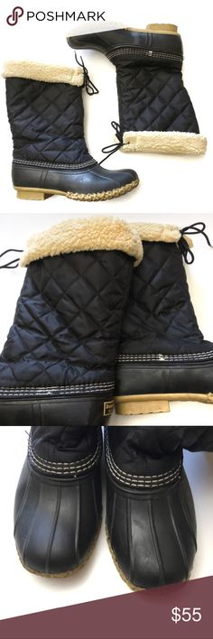 2a5b92ff1 LL Bean Quilted Sherpa Lined Tall Duck Boots LL Bean Womens Black Quilted  Sherpa Lined Tall