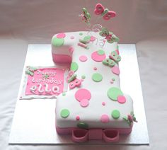 First Birthday Party - Butterfly Number 1 polkadot cake by Its A Cake Thing (Jho), via Flickr