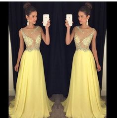 Find More Evening Dresses Information about luxury yellow long evening dresses 2017 new  crystal beaded chiffon womens pageant gown for formal prom party vestido festa,High Quality dress amazing,China dress up wedding gowns Suppliers, Cheap dress mary jane shoes from suzhou  helen wedding dress company on Aliexpress.com