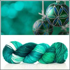 Expression Fiber Arts, Inc. - Limited Edition HOLIDAY HOPE SUPERWASH DEWY DK  - Limited Edition HOLIDAY HOPE - a GORGEOUS mix of jade green and turquoise/teal, with a pop of silvery ivory. Each skein includes a free handmade stitch marker, suitable for knitting or crocheting. Stitch marker color/style will vary. Order as many skeins as you need, as it is limited edition, available only for the season!