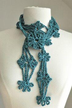 bamboo flower scarflette crochet scarf cotton viscose