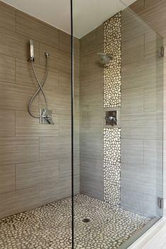 Trendy bathroom shower tile ideas walk in pebble floor Ideas Gray Shower Tile, Big Shower, Beige Bathroom, Wood Bathroom, Bathroom Interior, Modern Bathroom, Small Bathroom, Bathroom Ideas, Shower Bathroom