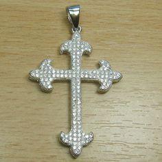 Micro Setting Brilliant Cut White CZ 925 Sterling Silver Fancy Shape Cross Pendant