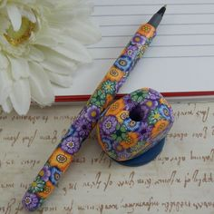Handmade Polymer Clay Pen with Pen Holder by polymerclayshed