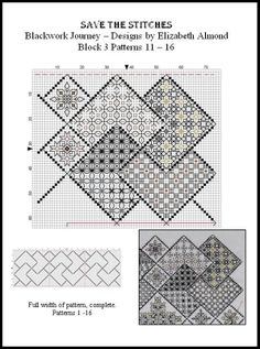 Block 3 'Save the Stitches' PDFs can be downloaded free from: www.blackworkjourney.co.uk
