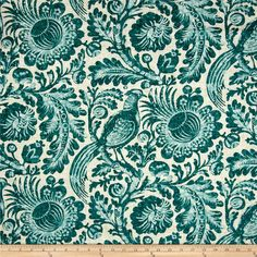 Waverly Tucker Resist Blend Porcelain from Screen printed on linen/rayon blend, this medium/heavyweight fabric is perfect