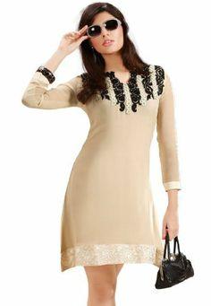 Stylish Indian Designer Wear Cream Embroidery Kurti Fabdeal Inc, http://www.amazon.de/dp/B00HRV240O/ref=cm_sw_r_pi_dp_jn9otb0SA6FN9