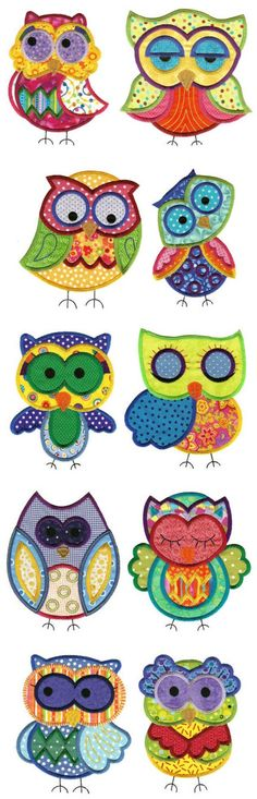'Jumbo A Hoot and a Half Applique Set by Designs by Juju Buhos y lechuzas dibujos Owl Patterns, Applique Patterns, Applique Designs, Machine Embroidery Designs, Quilt Patterns, Applique Ideas, Machine Applique, Owl Applique, Applique Quilts